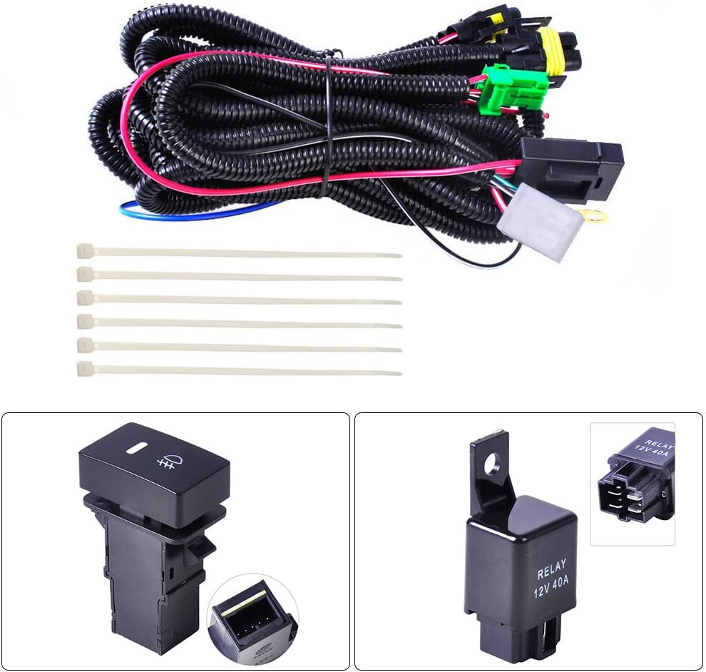 BonTime H11 Fog Light Wiring Harness Sockets Wire LED indicators Switch 12V 40A Relay