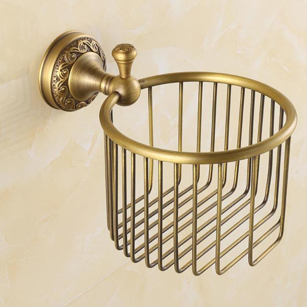 LINA@ Antique solid brass Towel rack in the bathroom paper towel basket washing liquid bottle of toilet paper storage shelf baskets