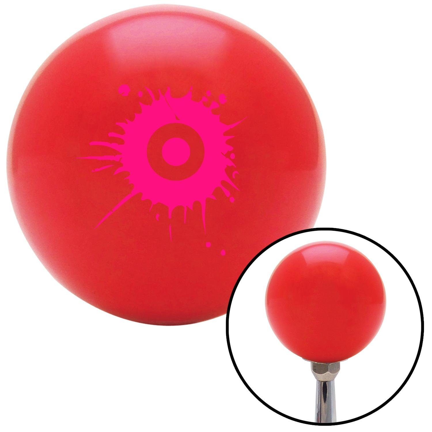 American Shifter 102743 Red Shift Knob with M16 x 1.5 Insert Pink Target w//Splatter