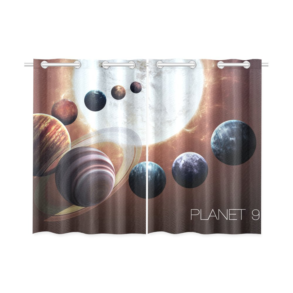 your-fantasia Ninth planet of the Solar System Opened Window Curtain Kitchen Curtain Two Pieces 26 x 39 inches