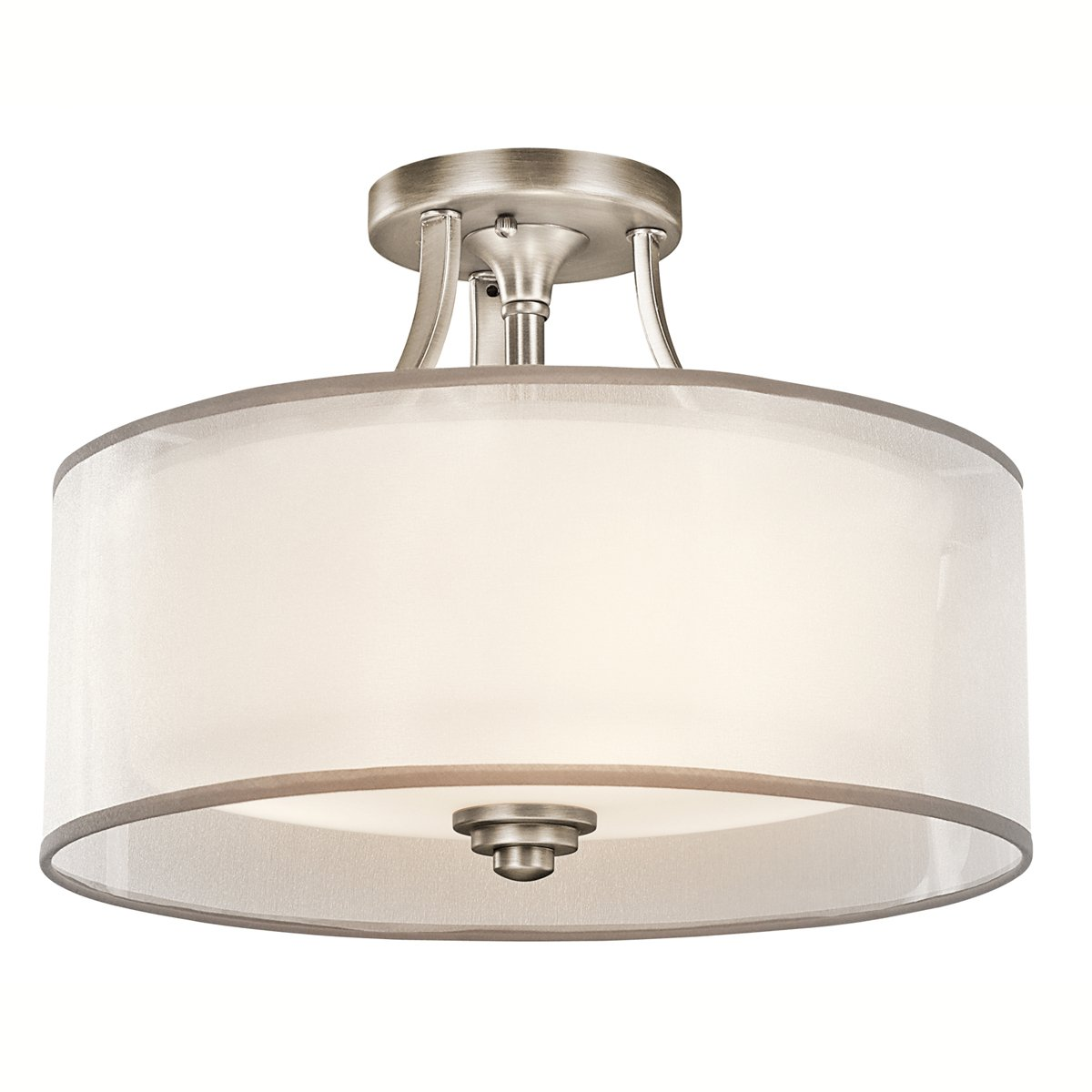 Kichler AP Lacey SemiFlush Light Antique Pewter Semi - Ceiling mount light fixtures for kitchen