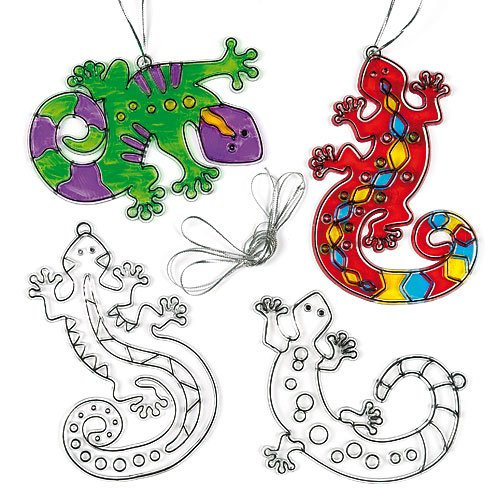 - Baker Ross Gecko Lizard Stained Glass Decorations (Pack of 6) V804 for Kids to Decorate and Display