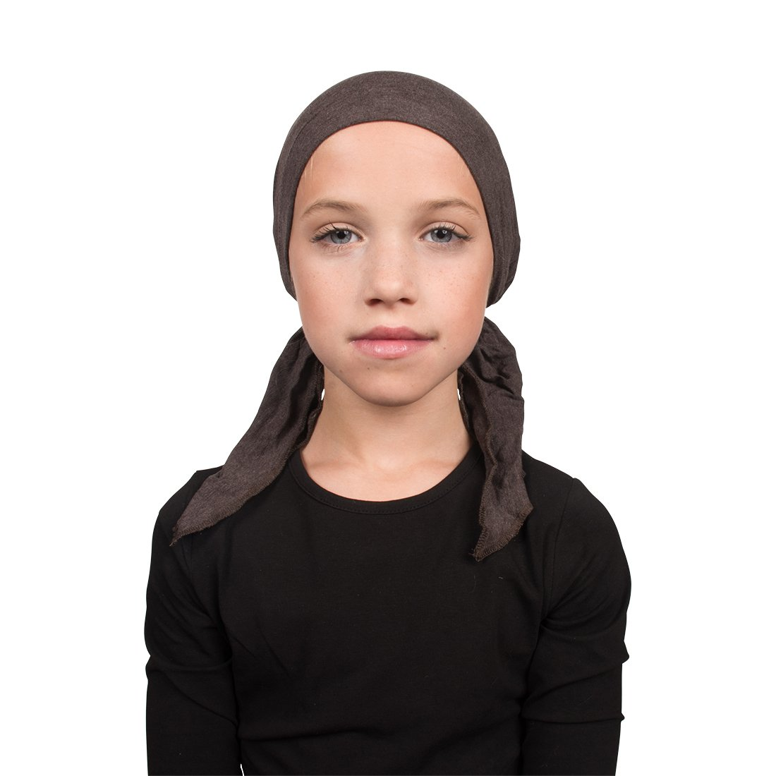 Kids Chemo Cap Pretied for Girls Soft Cancer Scarf - Brown Landana Headscarves ldptk-brown-SF