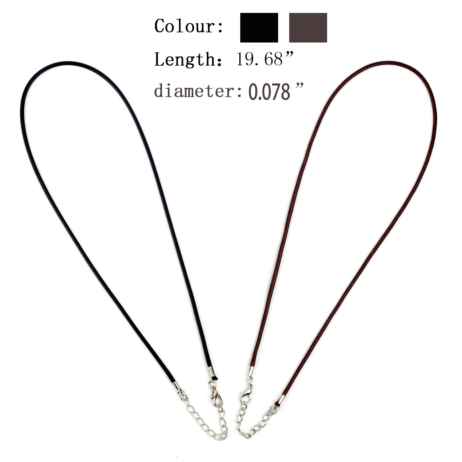 Necklace Cord 18 Inches Black/Brown Waxed Cotton Necklace Cord DIY Jewelry Making Ropes with Extension Chain Lobster Claw Clasp for Kids Girls Women Men DIY Gift(2.0MM)