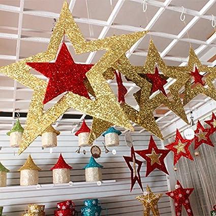 Sorluva Christmas Ornaments, Shiny Star Xmas Tree Ceiling Wall ...