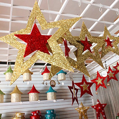 Hollywood Costumes And Rentals (Decoration - Twinkle Little Star Birthday Party Decorations Gold - Christmas Ornaments Shiny Star Xmas Tree Ceiling Wall Hanging Decoration - Twinkle Twinkle Little Star Party Decorations - 1PCs)