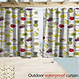 Homrkey Fruits Outdoor Curtains Kiwi Banana Plums Lemon Orange Pear Grape Apricot Kitchen Food Print Insulated with Grommet Curtains for Bedroom W55 xL45 Yellow Cream Purple Ruby