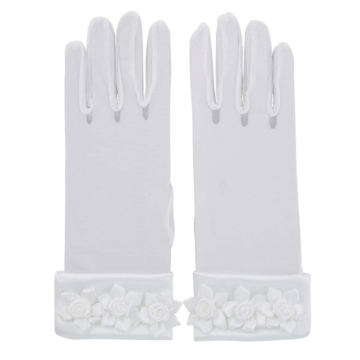 Girls White First Holy Communion Gloves with Rosebuds Medium