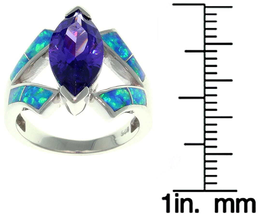 Carolina Glamour Collection Jewelry Trends Sterling Silver Created Blue Opal and Purple CZ Marquise Design Ring Whole Sizes 5-10