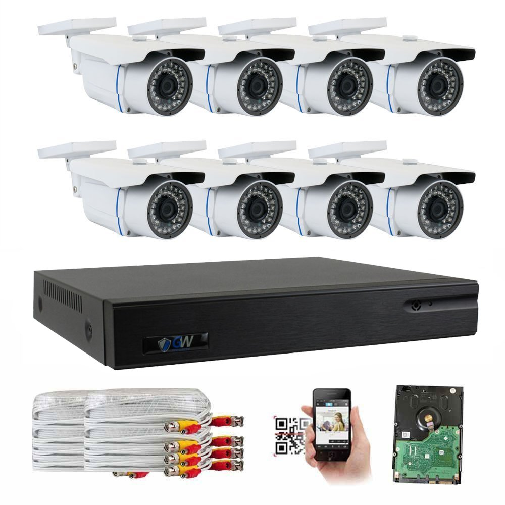 GW Security 8-Channel HD-TVI 1080P Complete Security System with (8) x True HD 1080P Outdoor / Indoor Bullet Security Cameras and 2TB HDD, QR Code Scan Free Remote View