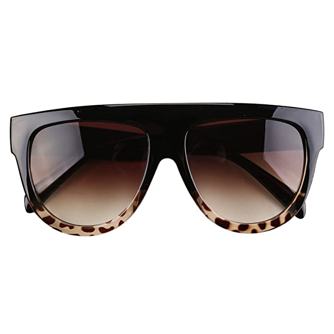 b4e0e4aa550 DHOUTDOORS Flat Top Shadow Sunglasses Women s Tortoise Shield Luxury  Oversized  Amazon.co.uk  Clothing