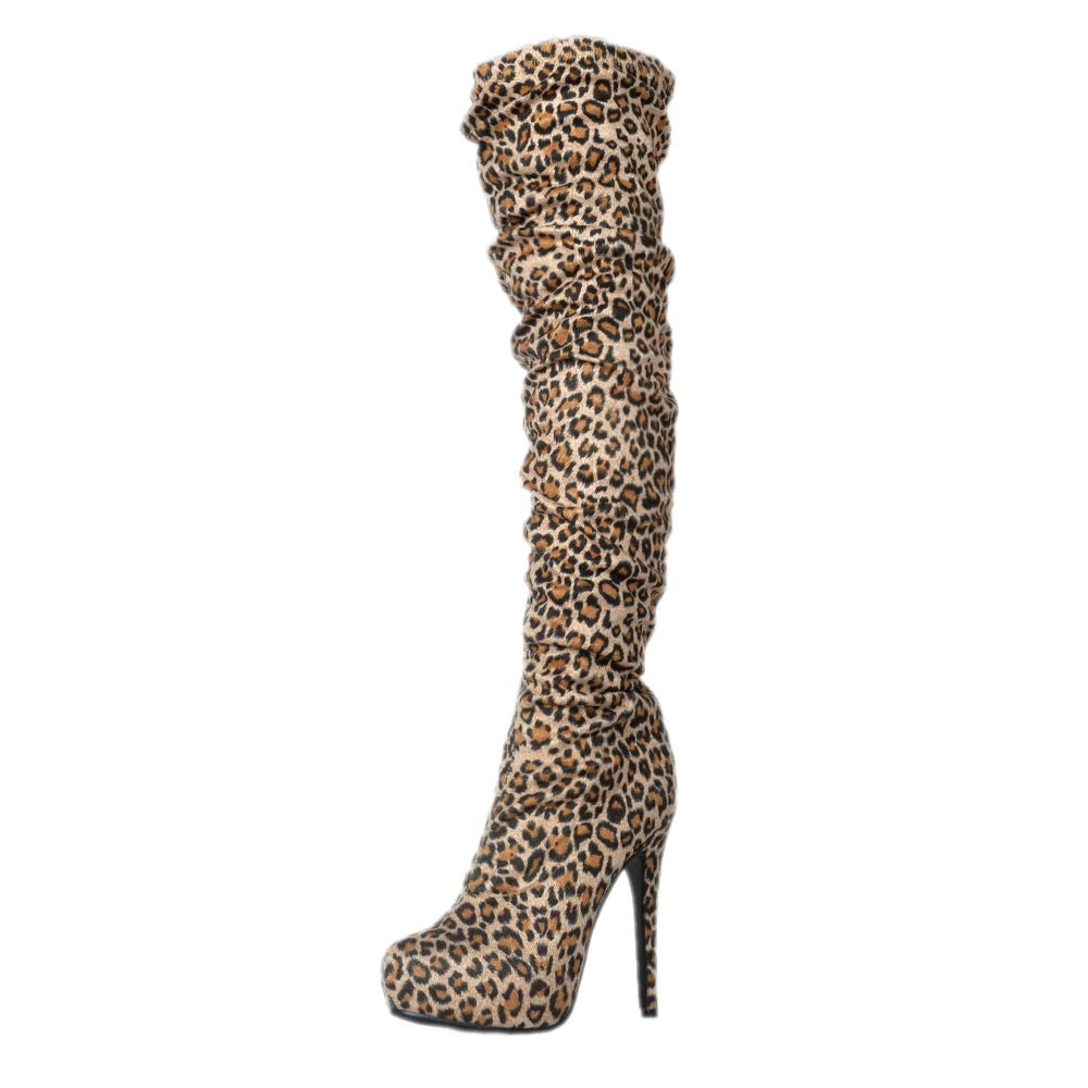 - Original Intention Sexy Women's Over-The-Knee Boots Leopard Zip Heeled Boots shoes Woman Plus Size 4-20