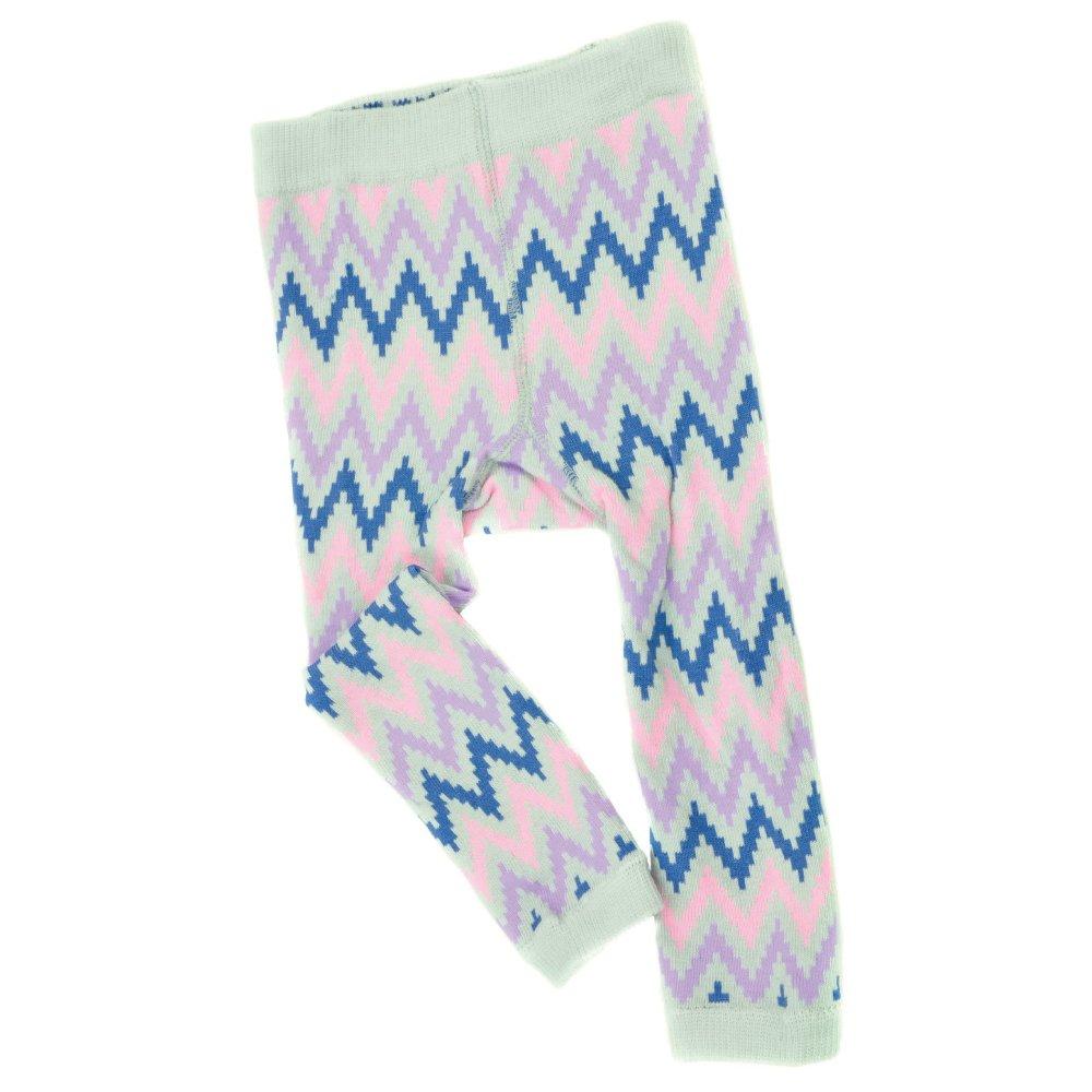 Baby Girl Footless Tights -DigitalZig-Gray/Lt.Pink- Soft Organic Cotton Leggings