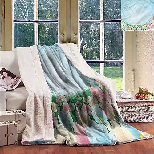 Sunnyhome Outdoor Blanket Garden Meadow Daisies Pansies Washable Shaggy Fleece Blanket W59x78L