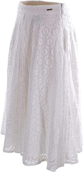 Guess W0GD29WCTZ0-TWHT - Falda larga blanca para mujer: Amazon.es ...