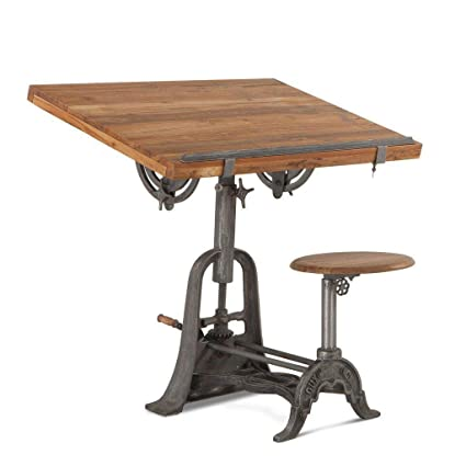 Peachy Amazon Com Vintage Industrial Drafting Desk With Attached Alphanode Cool Chair Designs And Ideas Alphanodeonline