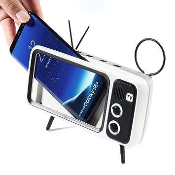 KOBWA - Altavoz Bluetooth para TV, portátil, con soporte para teléfono móvil, AUX FM Bluetooth opcional, calidad de sonido estéreo 3D, alcance inalámbrico de 32.8 pies, Bluetooth 4.2 - Regalo creativo: Amazon.es: Hogar