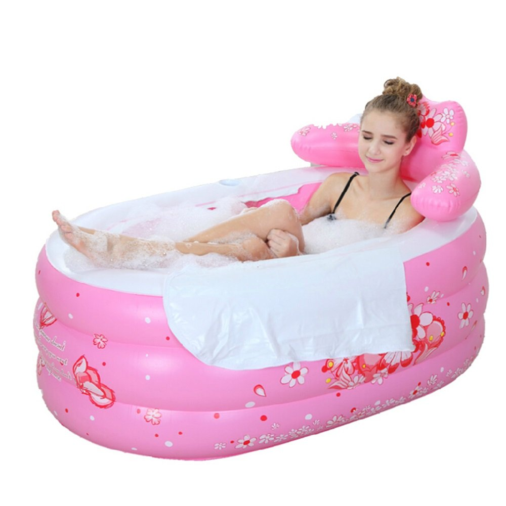 Foldable Inflatable Thick Warm Adult Bathtub Children Inflatable Pool, Pink (Color : Blue)