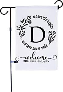 AKPOWER Small Garden Flag Vertical Double Sided 12 x 18 Inch Farmhouse Burlap Yard Outdoor Decor Classic Monogram Letter D