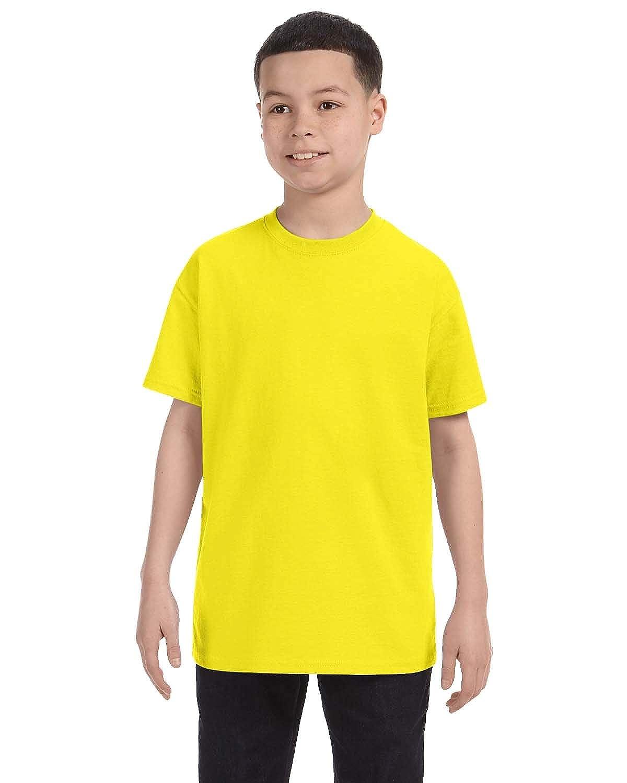 Neon Yellow Jerzees Big Boys Rib Collar Tear Away Label T-Shirt Medium