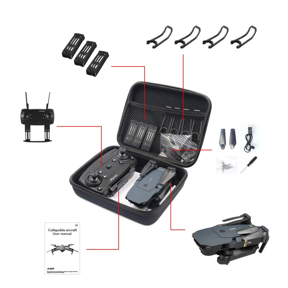 Yiwa Foldable Arm RC FPV Drone Handbag Carrying Case Box Bag for E58/JY018/JY019/GW58/X6/E010/E010S/E013/E50