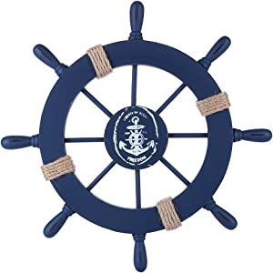 Rienar Nautical Beach Wooden Boat Ship Steering Wheel Fishing Net Shell Home Wall Decor (Deep Blue)