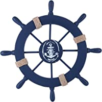 (Deep Blue) - Rienar Wooden Ship Wheel Nautical Boat Ship Wheel Wall Decor (Dark Blue)