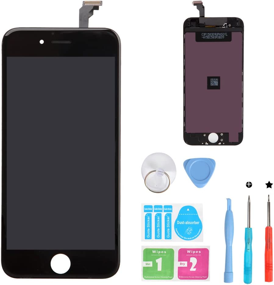 HSX_Z Screen Replacement for iPhone 6 Black 3D Touch Screen LCD Digitizer Replacement Frame Display Assembly Set with Repair Tool Kits