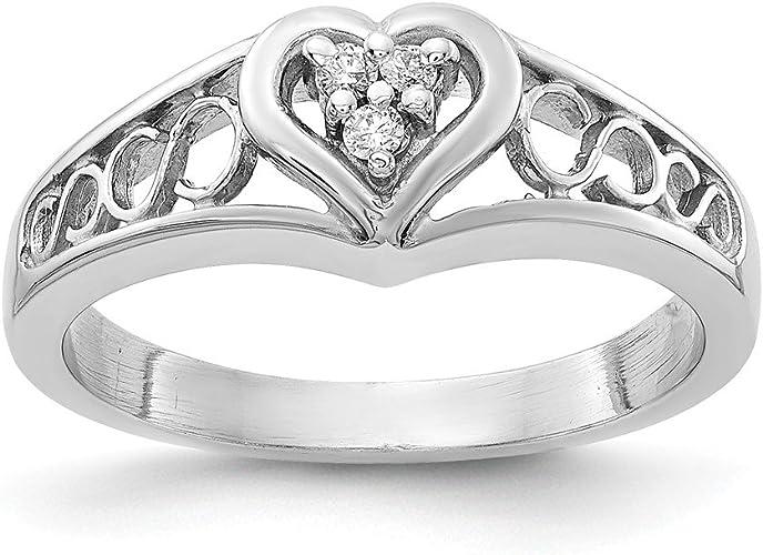 14k White Gold AA Diamond heart ring Size 6 Length Width 2