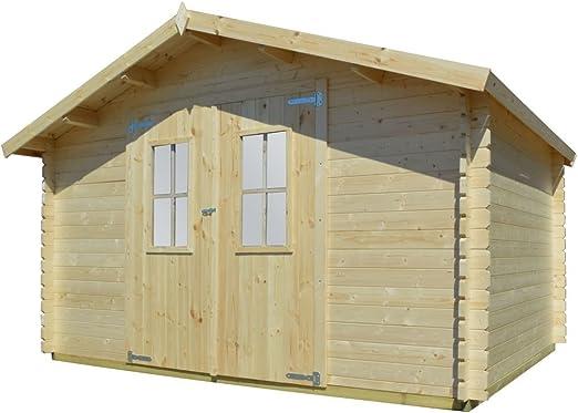 vidaXL - Caseta de jardín de madera maciza, 34 mm, 4 x 3/4 m: Amazon.es: Jardín