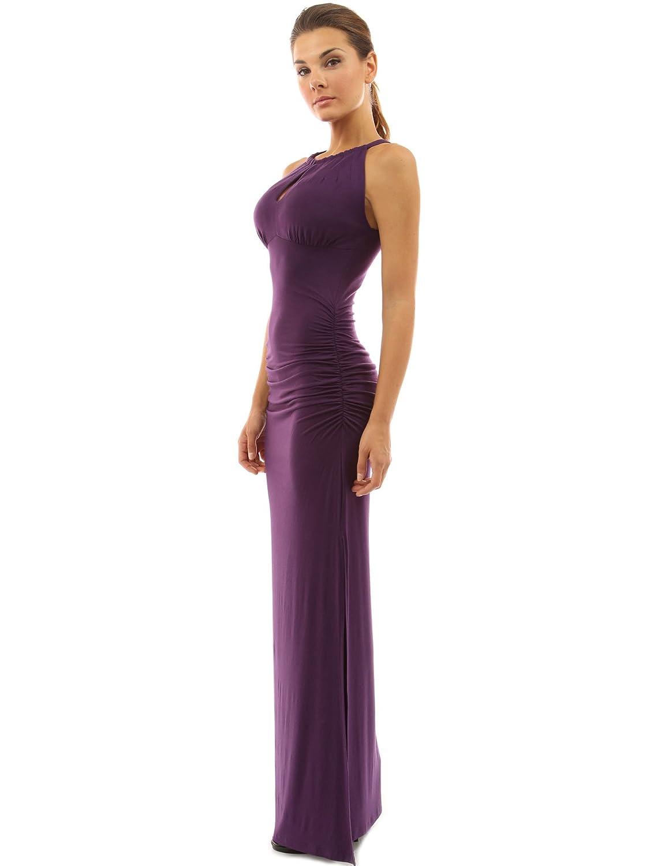 PattyBoutik Womens Keyhole Ruched Sides Slit Maxi Dress