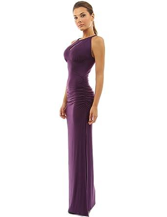 bffca4f06f0 PattyBoutik Women s Keyhole Ruched Sides Slit Maxi Dress (Dark Purple ...