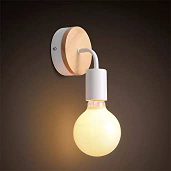 E27 En Fer Forgé Yuenslighting Bois Moderne Murale 40wsans Ampoule Classique Lampe wN0yvmOPn8