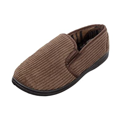 3564789ef890 Mens Brown Slip-On Corduroy Slippers with Elastic Gusset by Tom Franks Size  7  Amazon.co.uk  Shoes   Bags