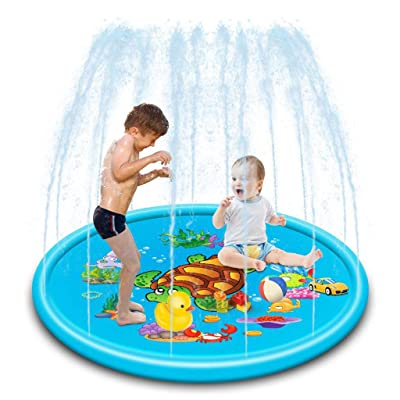 "Funic 43""/68"" Sprinkler Pad for Kids Toddlers Dogs, Kiddie Baby Pool, Outdoor Water Mat Toys - Baby Infant Wading Swimming Pool - Fun Backyard Fountain Play Mat for 1 -12 Year Old Girls Boys (S): Toys & Games"