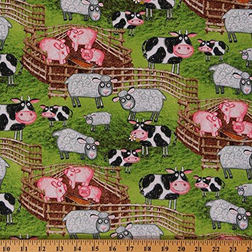 Fabric Barnyard - Cotton Barnyard Boogie Farm Animals Cartoon Green Cotton Fabric Print by Yard (A7372)