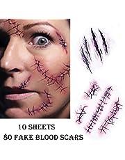 Chengzhi Temporäre Tattoos (10 Blatt) - Halloween Zombie Scars Tattoos Aufkleber mit gefälschten Scab Blut Spezial Fx Kostüm Makeup Stützen
