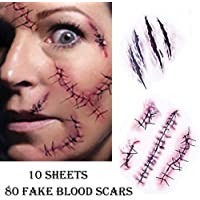 Chengzhi I Tatuaggi temporanei (10 Fogli) - Halloween Zombie Scars Tatuaggi Adesivi con Falsi Scab Sangue Costume Speciale FX Puntelli di Trucco