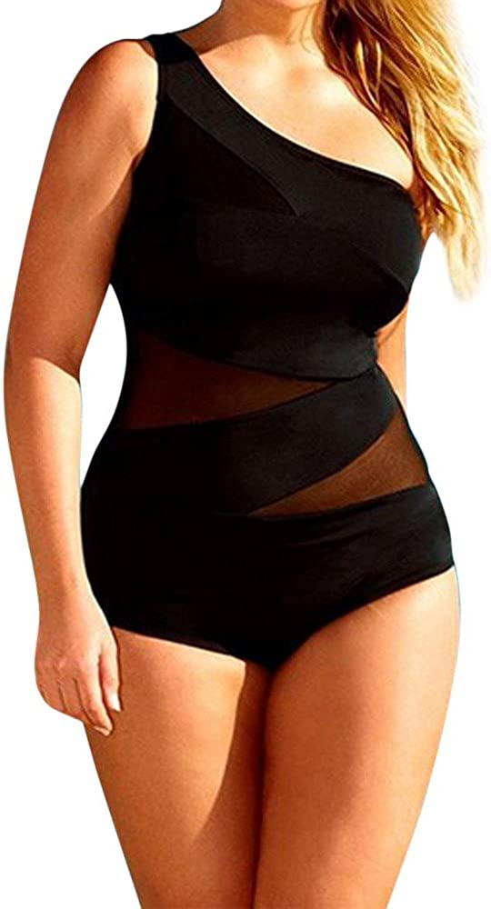 HAPPIShare Women 1 Piece Plus Size Asymmetrical Swimsuit One Shoulder Ruffle Solid Bathing Suit Swimwear Tankini Set