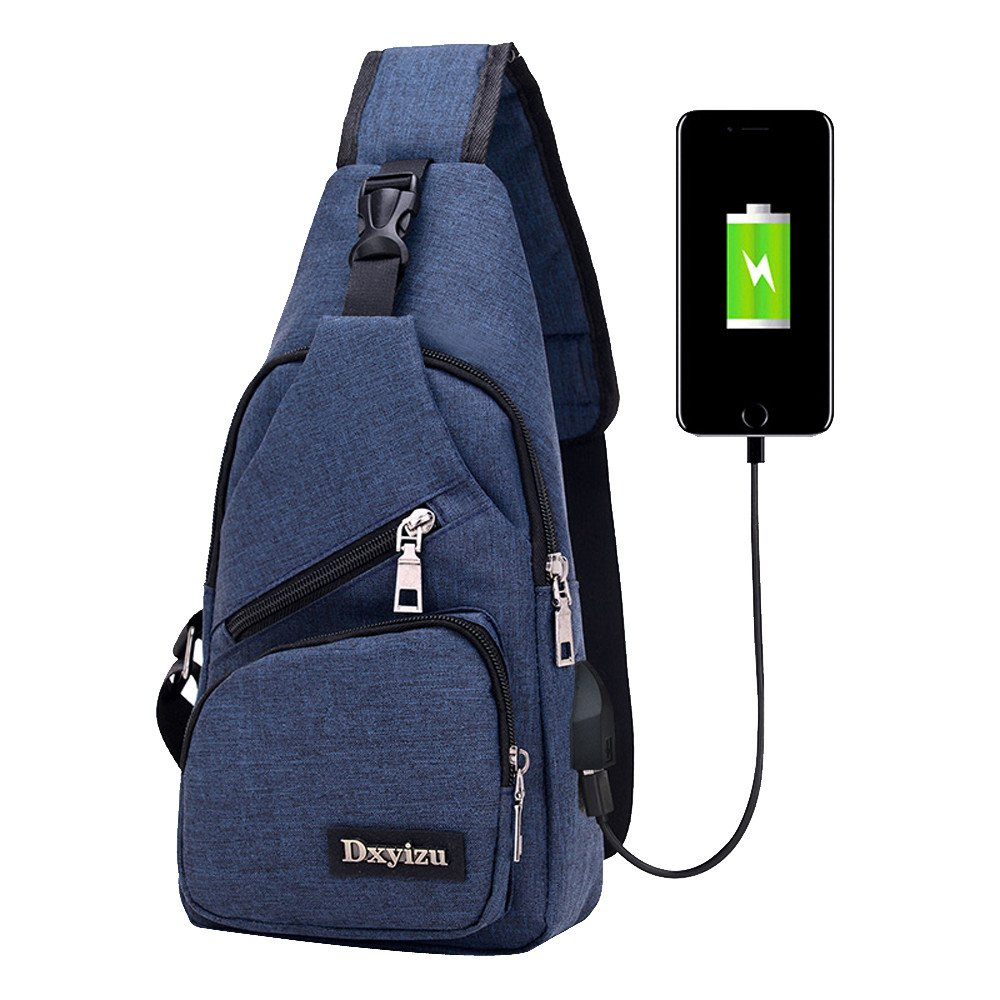 Canvas Unbalance Backpack Crossbody Sports Casual Sling USB Outdoor Shoulder Bag Feitengtd Unsex Single Shoulder Backpacks