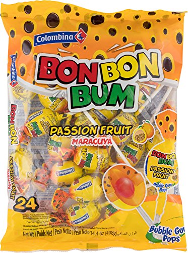 Colombina Bon Bon Bum Bubble Gum Pops Passion Fruit (Pack of 24)