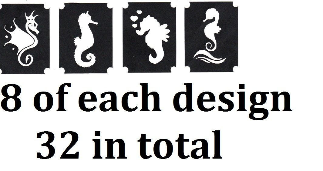 At Sea Tattoo Stencil Collections (32 Tattoo Glitter Airbrush Stencil Seahorse)