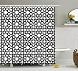 Ambesonne Moroccan Decor Collection, Moroccan Style Mosaic Ornament Geometric Patterns Classic Decorative Art Print, Polyester Fabric Bathroom Shower Curtain, 84 Inches Extra Long, Black White
