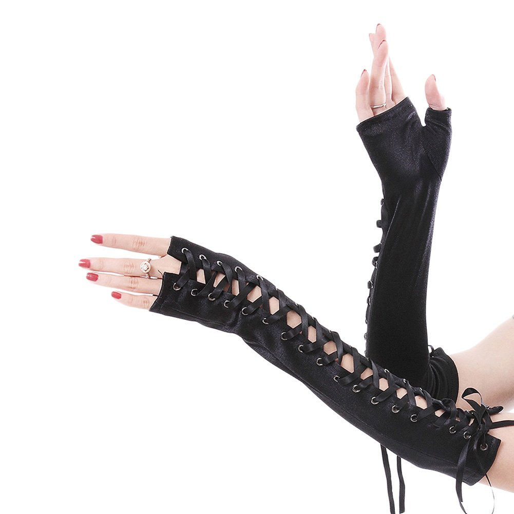Women Fingerless Long Gloves Lace-Up Punk Satin Wedding Dance Gloves Black
