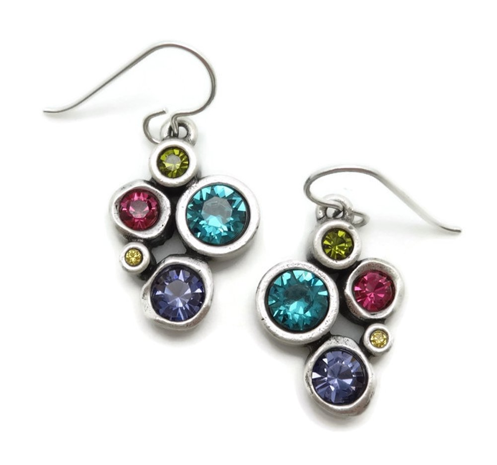 Patricia Locke Celebration Multi Color Take Five Swarovski Silver Plated Hook Earrings
