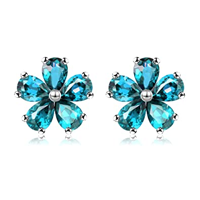 95a9d3ee1 ... Silver Earrings with Blue Stones, Blue Topaz Flower Studs Earrings for  Girls Birthday Gift with Velvet Box CR003 (Blue): Amazon.co.uk: Jewellery