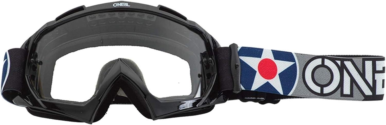 O Neal Fahrrad Brille Motocross Brille Mx Mtb Dh Fr Downhill Freeride Hochwertiges 3d Formmaterial Für Ultimative Klarheit Uv Schutz B 10 Goggle Unisex Schwarz Weiß Clear One Size Sport