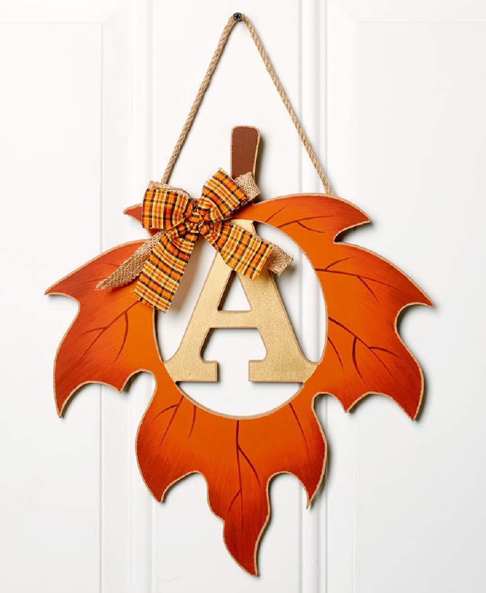 ginsengstone Harvest Leaf Monogram Letter A, Door Hanger Fall Thanksgiving Seasonal Home Decor
