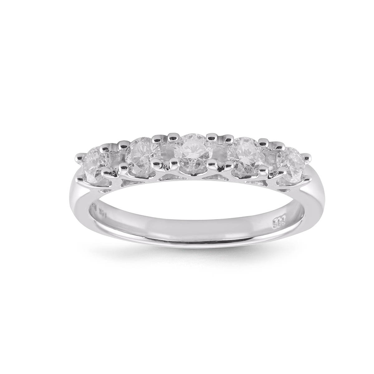 Diamond2Deal 5 Stone Diamond Wedding Ring in 14K White Gold 0.25ct Size 6 by Diamond2Deal (Image #1)