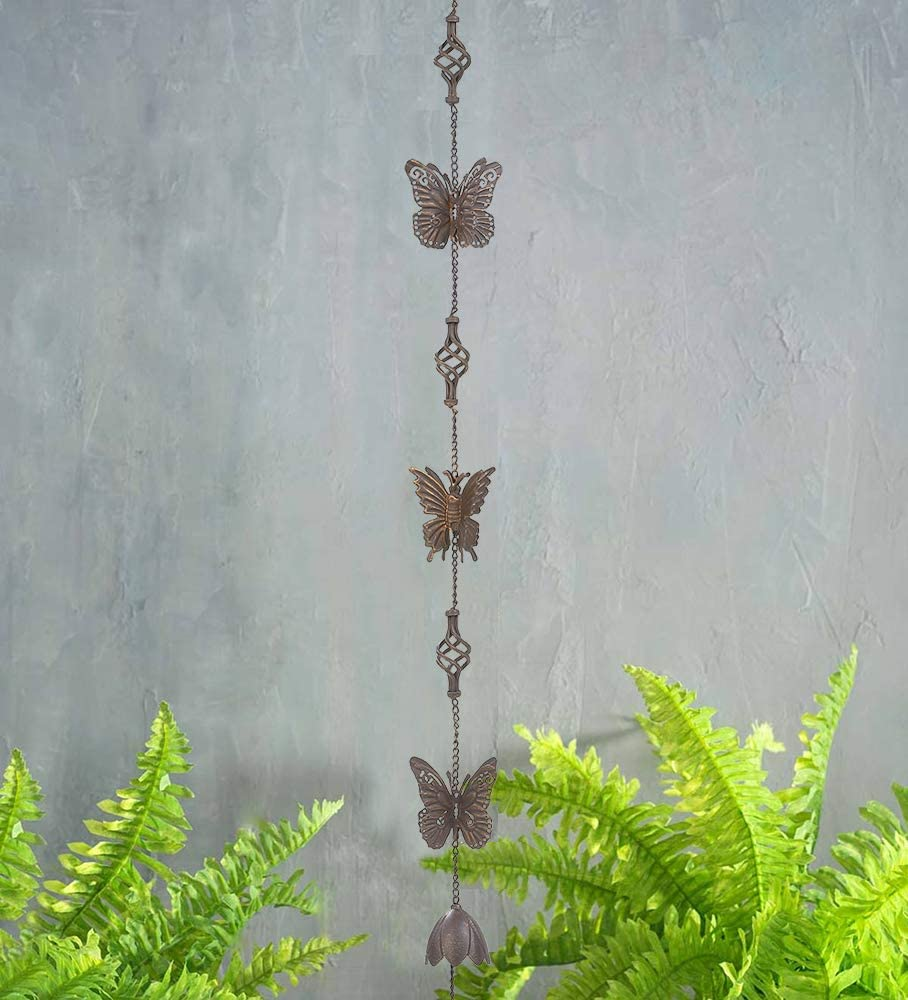 "Brogan 53"" H Hanging Iron Rain Chain with Bell Chime, Display for Outdoor Patio Garden Yard Decoration (Brown), Butterfly & Finial"